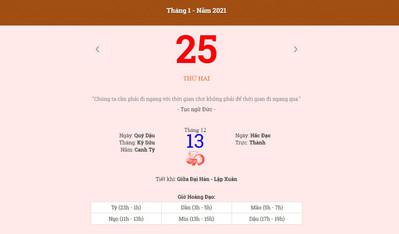 Lịch âm 25/1 - Xem âm lịch hôm nay thứ 2 ngày 25/1/2021 - Lịch vạn niên 25/1/2021