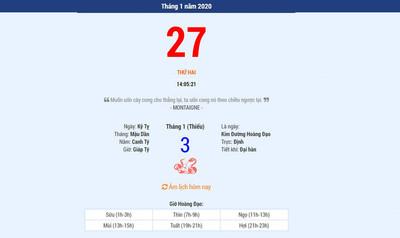 Lịch âm 27/1 - Xem âm lịch hôm nay thứ 4 ngày 27/1/2021 - Lịch vạn niên 27/1/2021