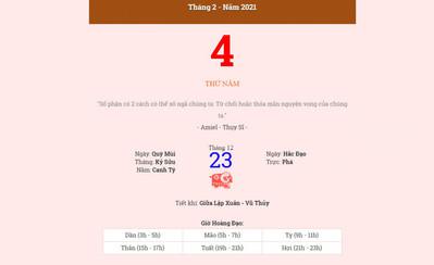 Lịch âm 4/2 - Xem âm lịch hôm nay thứ 5 ngày 4/2/2021 - Lịch vạn niên 4/2/2021